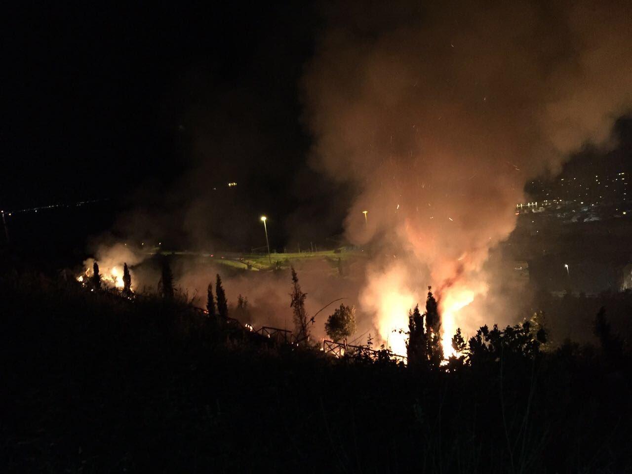 Ancona, vasto incendio al parco di Posatora