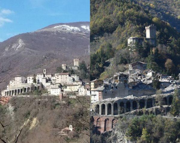 Arquata del tronto prima e dopo il terremoto del 2016 (Il Martino - ilmartino.it -)