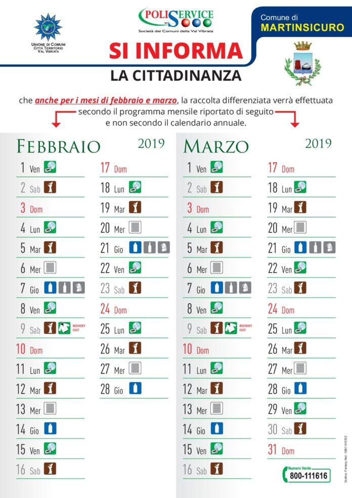 Calendario Raccolta Differenziata Teramo.Martinsicuro Calendario Raccolta Rifiuti Per Febbraio E
