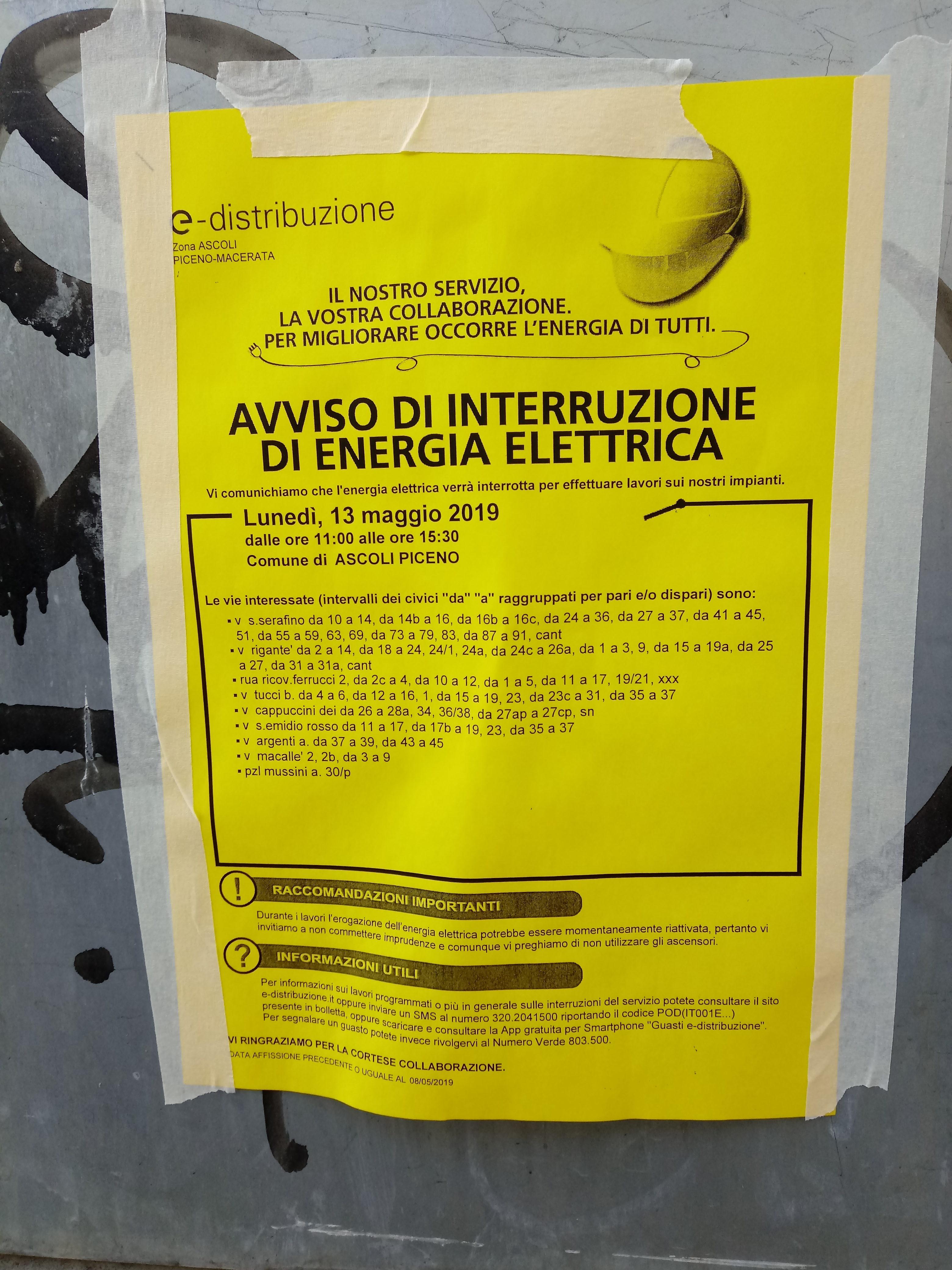 Ascoli Piceno, Avviso interruzione energia elettrica. Enel Luce 13 maggio 2019 (Il Martino - ilmartino -)