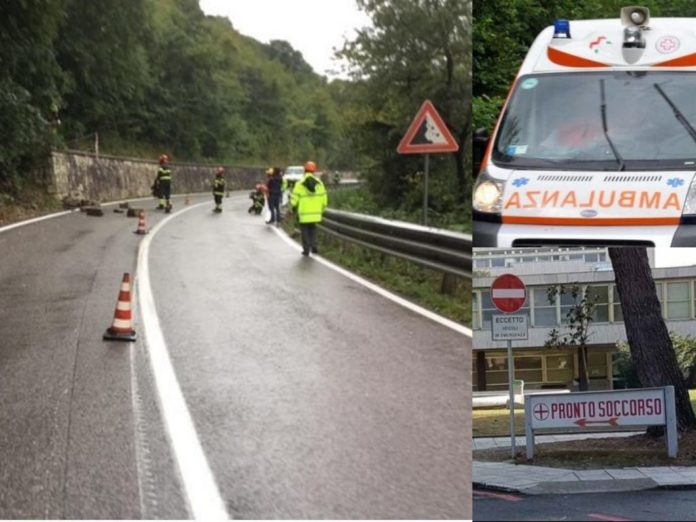 Trisungo, salaria. Incidente sul lavoro. Ambulanza (Il Martino - ilmartino.it -)