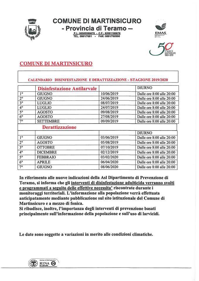 Calendario Alba Tramonto 2020.Martinsicuro Disinfestazione E Derattizzazione Le Date