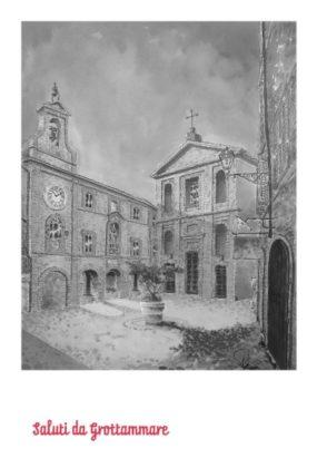 'Saluti da Grottammare' 2019, cartolina disegnata da Angelo Maria Ricci