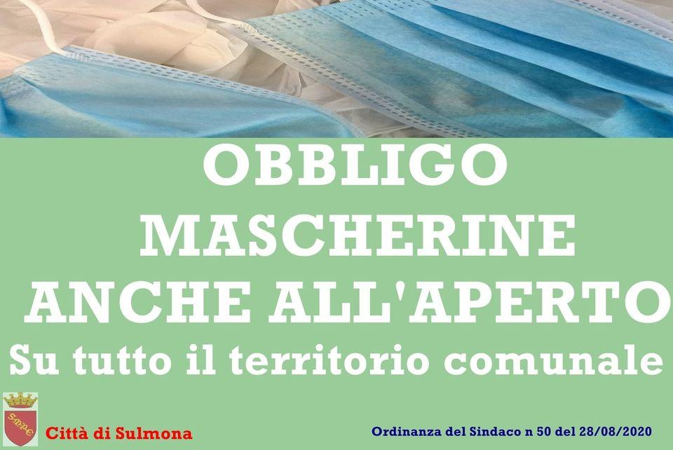 Mascherina obbligatoria tutto il giorno a Sulmona
